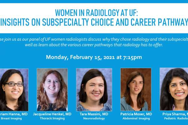 February Women in Radiology flyer with headshots of panelists: Doctors Mariam Hanna, Jacqueline Henkel, Tara Massini, Patricia Moser, and Priya Sharma