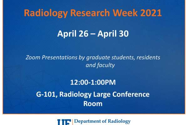Research Week 2021 flyer that reads zoom presentations by graduate students, residents, and faculty