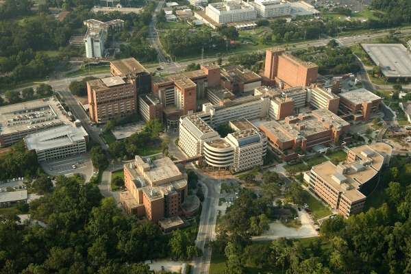 Aerial image of the University of Florida Health Science Center