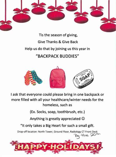 Backpack Buddies flyer shows holiday imagery and encourages donations of backpacks filled with healthcare and winter items for the local homeless.