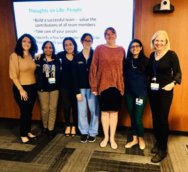 UF Women in Radiology members pose with guest speaker, Doctor Sonja Rasmussen, formerly of the C-D-C