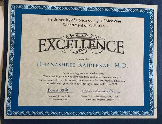 Department of Pediatrics Award of Excellence is award to Doctor Rajderkar on June 12, 2021.