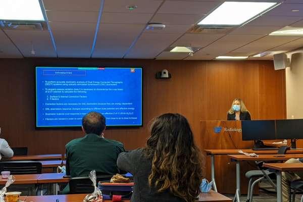 Graduate student Natalie Correa presents at research week